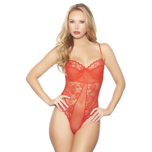 Popsi Lingerie Red Lace/Mesh Bodysuit