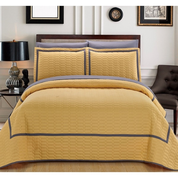 Chic Home 3-Piece Marla Yellow Hotel Collection Quilt Set