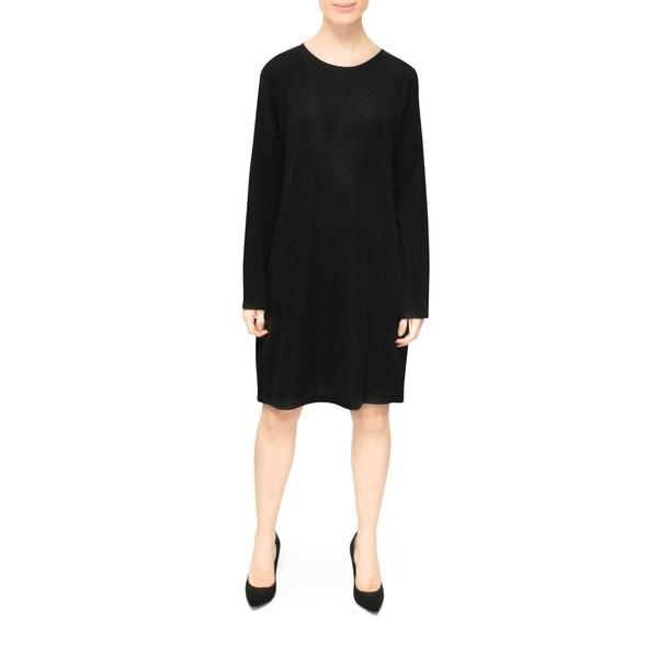 Bluberry Lurex Women's Black Long-sleeved Dress