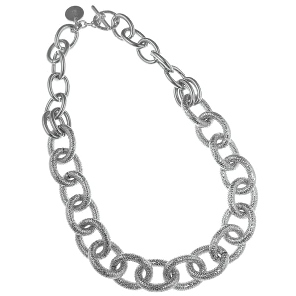 Isla Simone - Fine Silver Plated Two Link Necklace With Textured Oval Links 21305250
