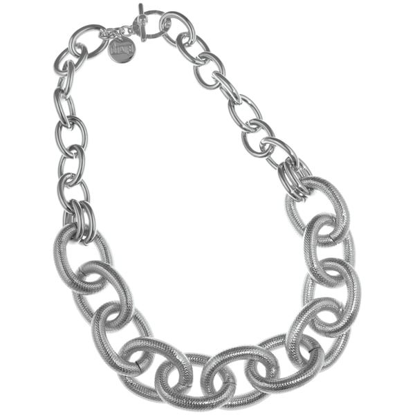 Isla Simone - Fine Silver Plated Two Link Necklace With Large Textured Oval Links 21305309