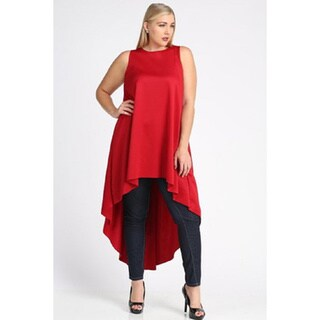 Red Polyester Plus-size High-low Hem Tunic Dress
