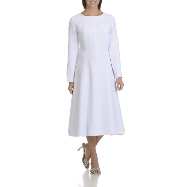 Giovanna Signature Women's White/Black Polyester Seam Detail Dress