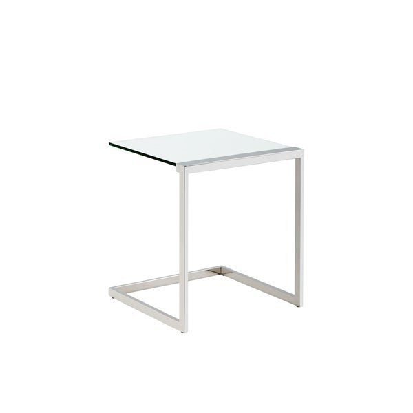 Leighton Silver Stainless Steel Frame Tempered Glass Top End Table