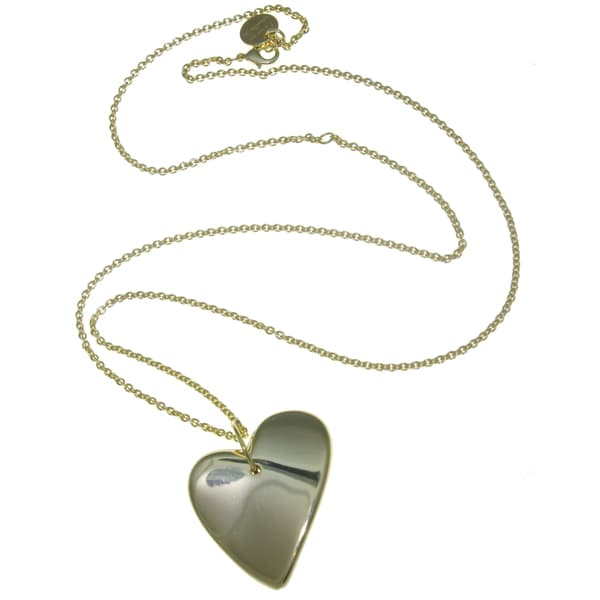 Isla Simone - 18 Karat Gold Electro Plated Long Necklace With Large Electroform Heart