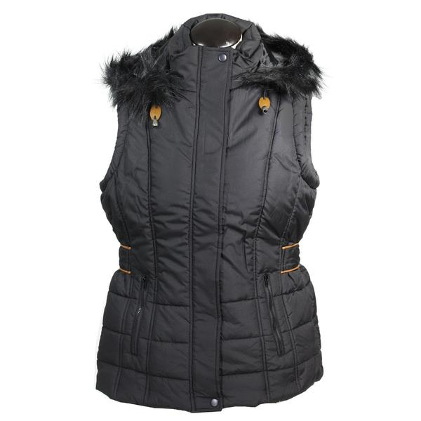 Totes Women's Black Polyester Quilted Insulated Hooded Vest