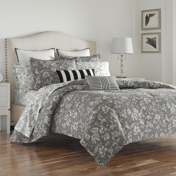 Wedgwood Vibrance Grey Cotton Comforter Set 21307667