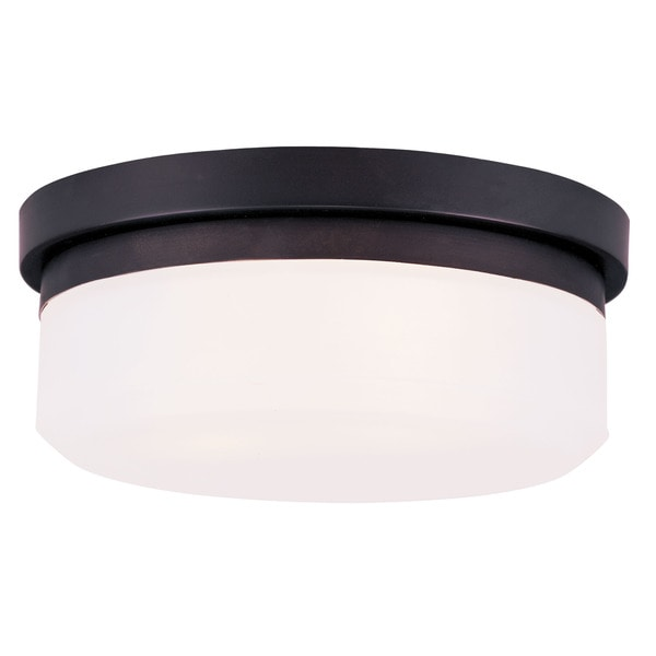 Livex Lighting White Bronze Round Stratus Ceiling Mount Light