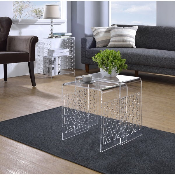 Acrylic Honeycomb Nesting Tables- Set of 2
