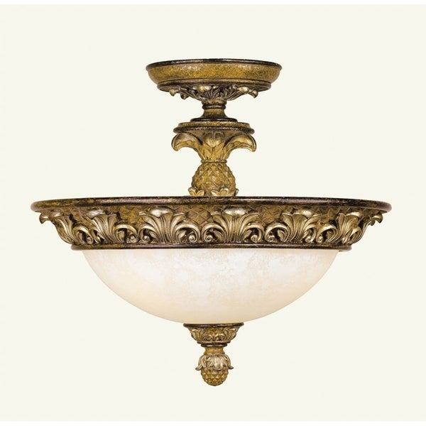 Savannah Glass, Resin, and Steel Semi Flush Light Fixture 21307840