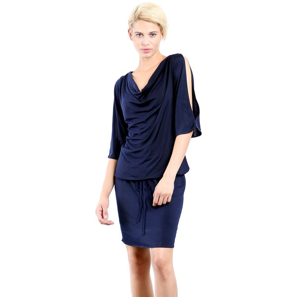 Evanese Women's Cowl-neck Poly-blend Day Work Slit-Sleeves Weekend Cocktail Dress