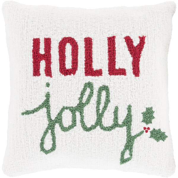 Tetbury 18 in. Down or Polly Filled Holly Jollly Holiday Throw Pillow