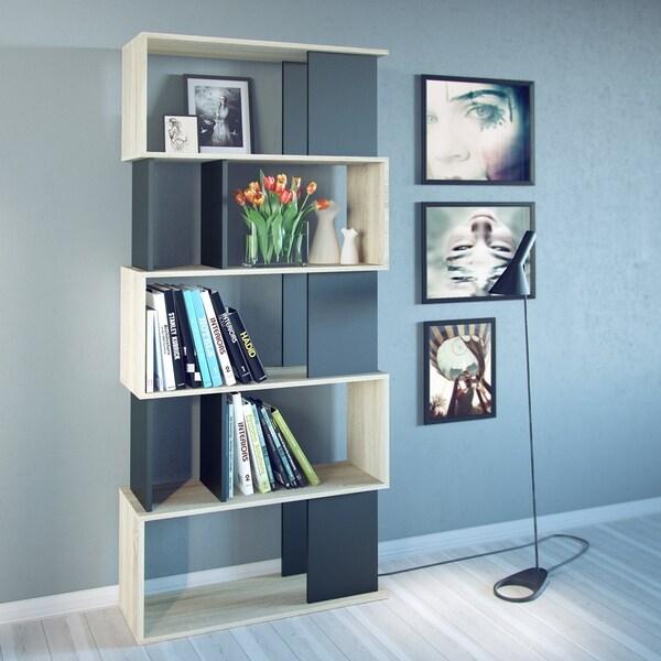 Twist Tan/Black Wood 7-shelf Bookcase