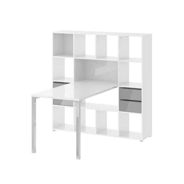 Wright White/Brown Wood 13-shelf Storage Bookcase Desk