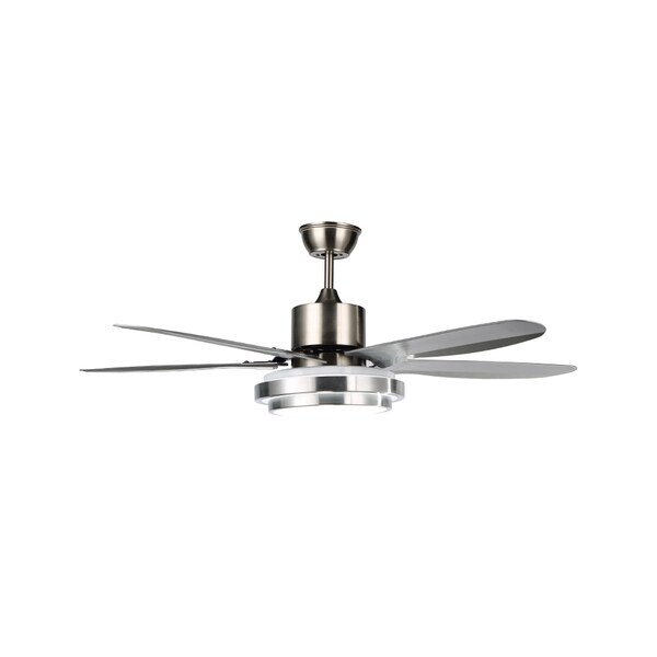 48-inch Chrome Finish LED 5-blade Light Ceiling Fan with Acrylic Shade