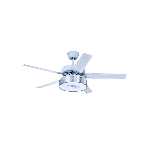 White Acrylic LED Ceiling Fan with 5 Iron Blades