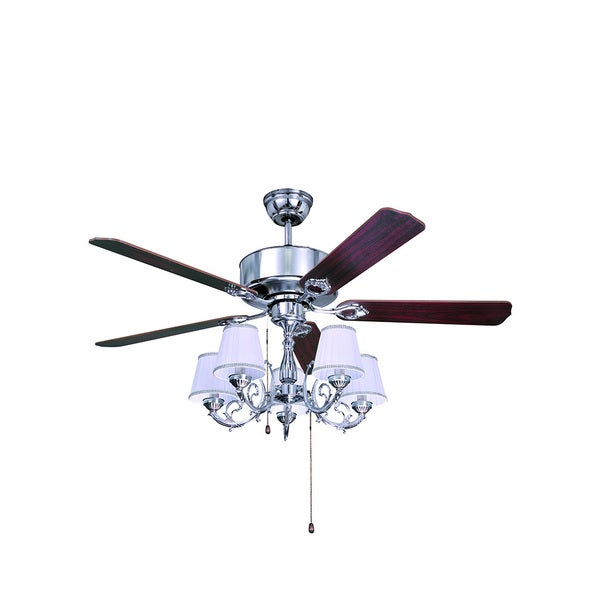Chrome 51-inch Ceiling Fan with 5-light Kit