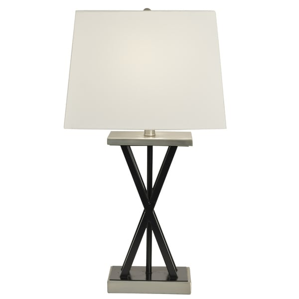 Decor Therapy Matt Black and Brushed Steel Table Lamp