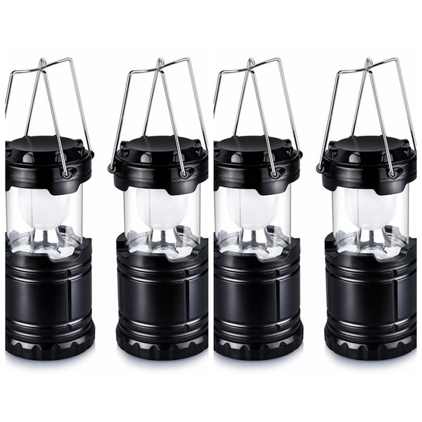 Black Portable Super-bright Outdoor Collapsible LED Camping Lantern with3 AA Batteries (4 Packs)