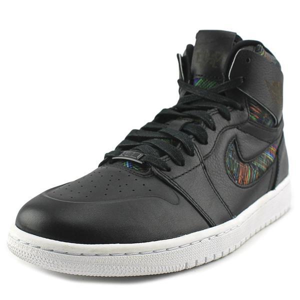 Jordan Men's 'Air Jordan 1' Black Leather Retro High-top Athletic Shoes