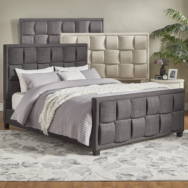 TRIBECCA HOME Porter Linen Woven Full Upholstered Bed with Footboard