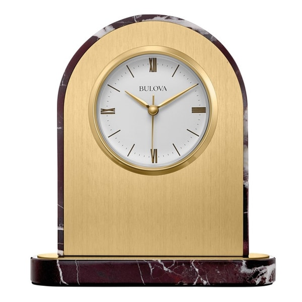 Bulova Desire Brushed Brass and Polished Marble Analog Mantel Clock