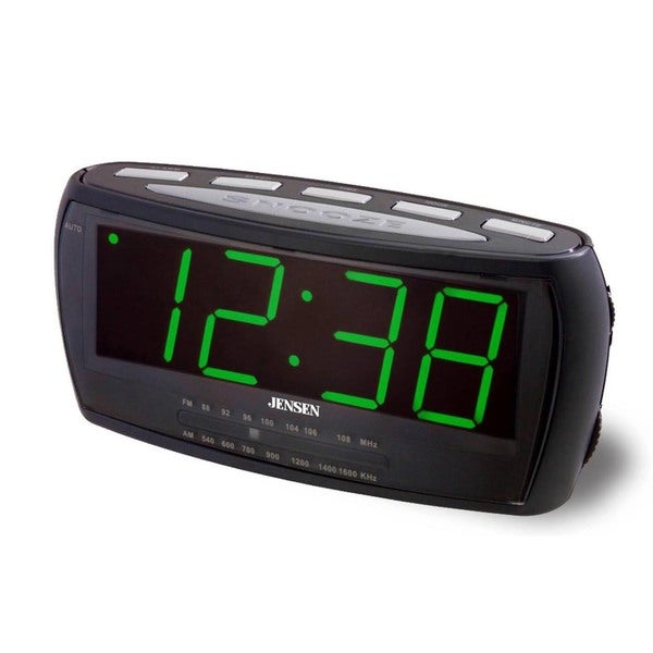 Jensen JCR208 Black Plastic and Green LED Display 1.8-inch AM/FM Alarm Clock Radio