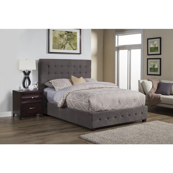 Alpine Alma Grey Wood Tufted Upholstered Bed