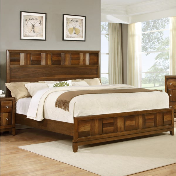 Calais Walnut-finish Solid Wood Queen Bed