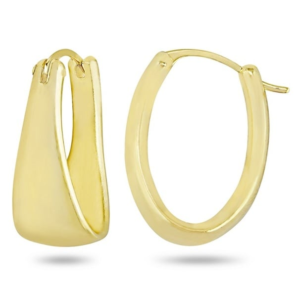 Forever Last 10K Yellow Gold Swarovski Crystal Oval Hoop Earrings