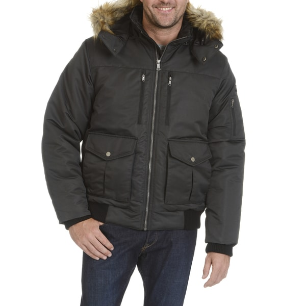 Sean Jean Men's Extra Warm Bomber Jacket With Faux Fur Trim Hood