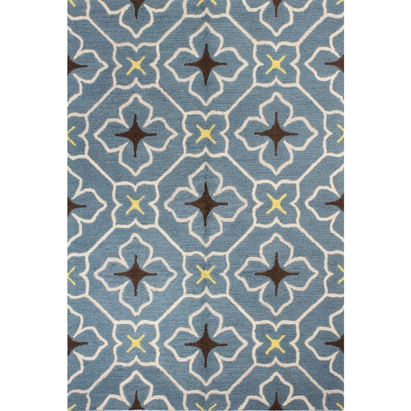 Alexandra Grey/Navy/Teal Wool Tufted Area Rug (7' x 9')