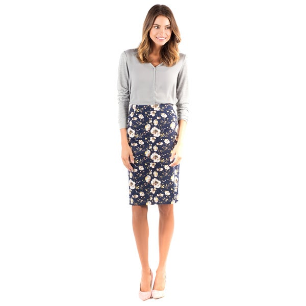 DownEast Basics Women's Navy Ponte Pencil Skirt