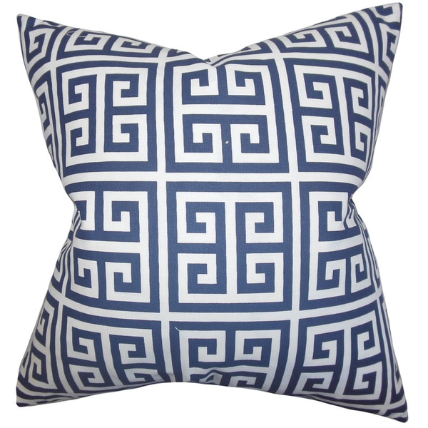 Paros Greek Key Euro Sham Navy Blue