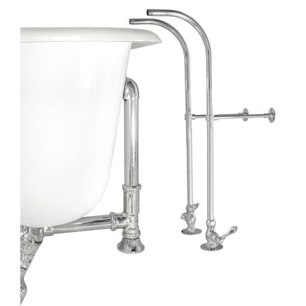 Elizabethan Classics Free Standing Supply Line with Stops, Metal Lever Handles in Chrome