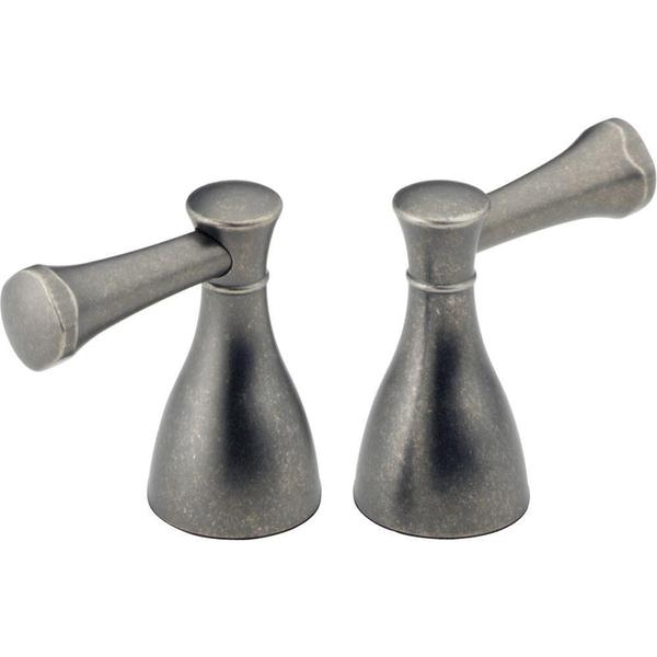 Delta Pair of Lockwood Lever Handles in Aged Pewter for 2-Handle Faucets