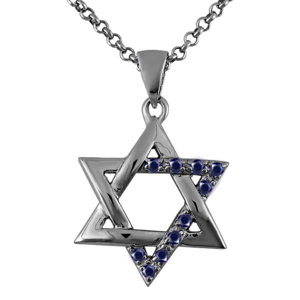 Sterling Silver Black Rhodium Plated Created Blue Sapphire Star of David Pendant Necklace