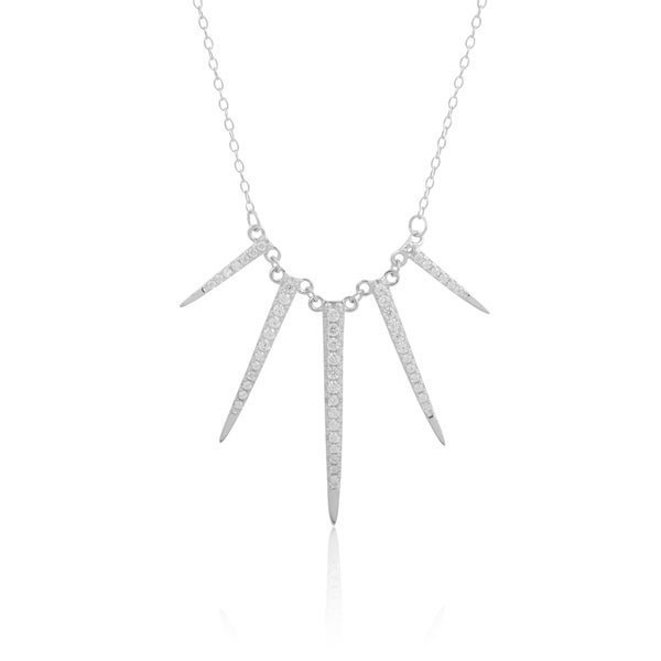 Sterling Silver Cubic Zirconia Spike Necklace