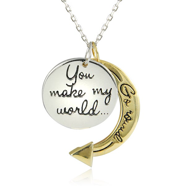 Two-tone Sterling Silver 'You Make My World Go Round' 18-inch Pendant Necklace