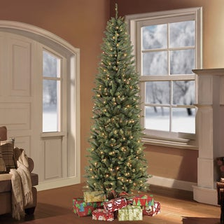 Puleo International Green 7.5-foot Artificial Christmas Tree with 350 Clear Lights