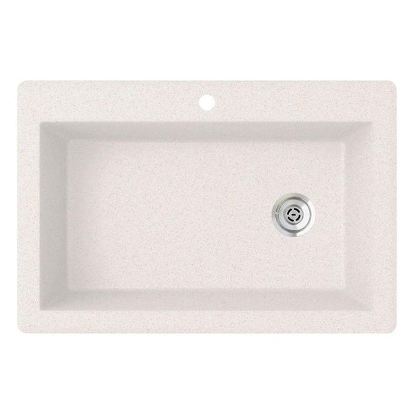 Swan Drop-In Granite 33 in. 1-Hole Single Bowl Kitchen Sink in Bianca