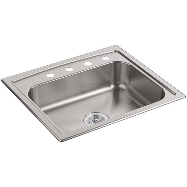KOHLER Toccata Top-Mount Stainless Steel 25 in. 4-Hole Single Bowl Kitchen Sink
