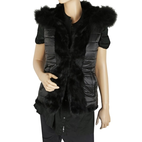 BCBG Max Azria Becca Black Faux Fur Down Reversible Vest