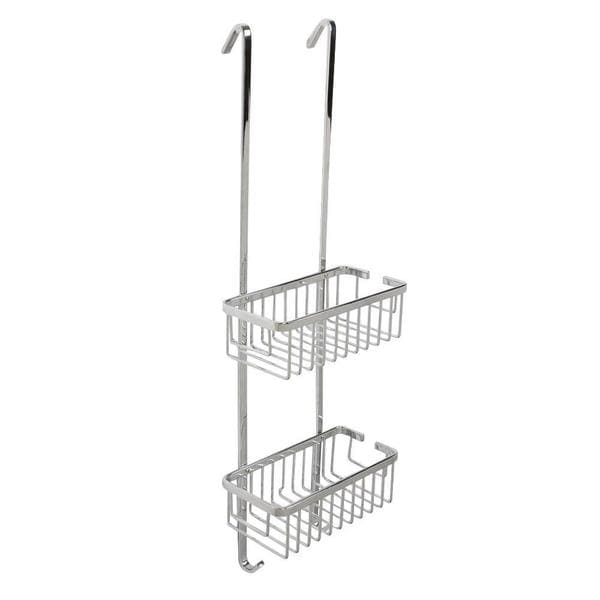 Croydex Aluminum 29.5 in. H x 9.75 in. W x 4.75 in. D Slim 2-Tier Hook Over Basket in Chrome