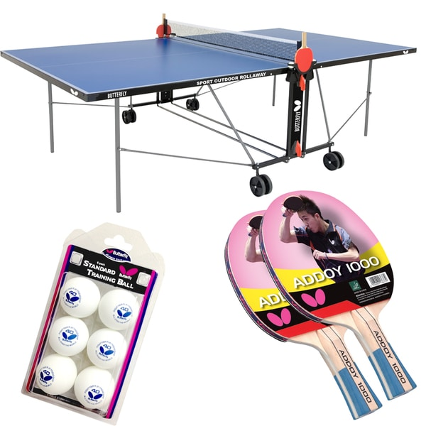 Butterfly Outdoor Sport Rollaway Table Tennis Bundle