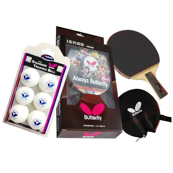 Butterfly Red/Black Wood Penhold Racket Table Tennis Bundle
