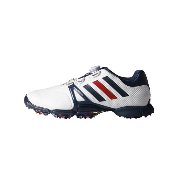 Adidas Powerband Tour Boa Golf Shoes 2016 White/Mineral Blue/Red