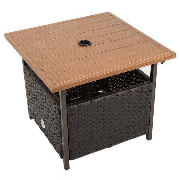 Naturefun Outdoor PE Wicker Square Bistro Dining Table, Garden Leisure Coffee Ottaman Table with Umbrella Hole