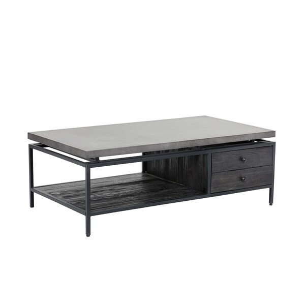 Norwood Black Wood and Metal Coffee Table