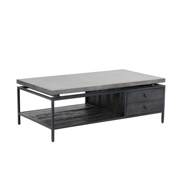 Norwood Black Wood and Metal Coffee Table
